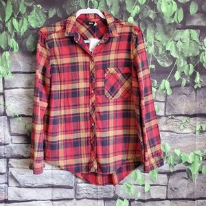 BDG Urban Outfitters Red Plaid Flannel Shirt Mediu